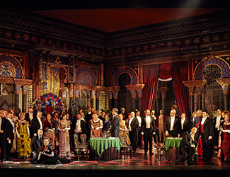 José Carbó as Giorgio Germont, Ermonela Jaho as Violetta Valéry, Dominica Matthews as Flora Bervoix, Samuel Dundas as Marquis D'Obigny, Adrian Tamburini as Baron Douphol, Gennadi Dubinsky as Dr Grenvil, Ho-Yoon Chung as Alfredo Germont, John Longmuir as Gastone and the Opera Australia Chorus in Opera Australia's production of La Traviata. Photo by Keith Saunders