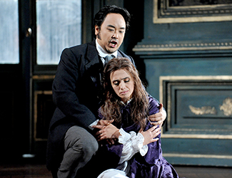 Ermonela Jaho as Violetta Valéry and Ho-Yoon Chung as Alfredo Germont in Opera Australia's production of La Traviata. Photo by Lindsay Kearney