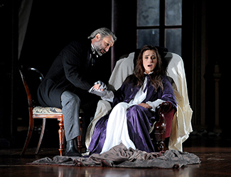 José Carbó as Giorgio Germont, Ermonela Jaho as Violetta Valéry in Opera Australia's production of La Traviata. Photo by Lindsay Kearney
