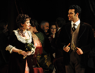 Lorina Gore as Violetta Valéry and Rame Lahaj as Alfredo Germont in Opera Australia's production of La Traviata. Photo by Branco Gaica