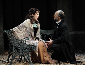 Lorina Gore as Violetta Valéry and José Carbó as Giorgio Germont in Opera Australia's 2015 production of La Traviata. Photo by Branco Gaica