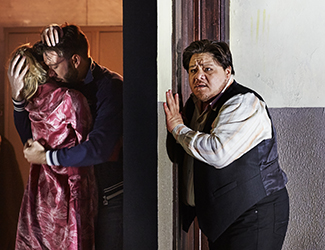 Anna Princeva as Nedda, Samuel Dundas as Silvio and Diego Torre as Canio in Pagliacci. Photo by Keith Saunders