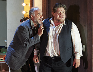 José Carbó as Tonio and Diego Torre as Canio in Pagliacci. Photo by Keith Saunders