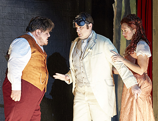 Diego Torre as Canio, John Longmuir as Beppe and Anna Princeva as Nedda in Pagliacci. Photo by Keith Saunders