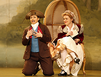 Agnes Sarkis as Cherubino and Suzanne Shakespeare as Susanna in Opera Australia's 2017 Regional Tour production of The Marriage of Figaro. Photo by Jeff Busby