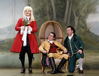 James Egglestone as Don Basilio, Christopher Hillier as Count Almaviva and Andrew Jones as Figaro in Opera Australia's 2017 Regional Tour production of The Marriage of Figaro. Photo by Jeff Busby