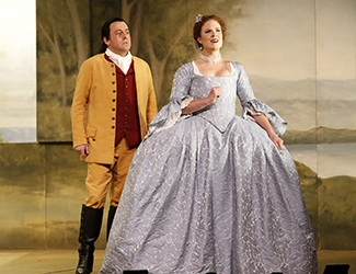 Christopher Hillier as Count Almaviva and Olivia Cranwell as Countess Almaviva in Opera Australia's 2017 Regional Tour production of The Marriage of Figaro. Photo by Jeff Busby