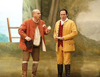 Adrian Tamburini as Antonio and Christopher Hillier as Count Almaviva in Opera Australia's 2017 Regional Tour production of The Marriage of Figaro. Photo by Jeff Busby