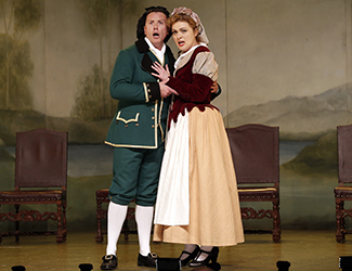 Andrew Jones as Figaro, Suzanne Shakespeare as Susanna in Opera Australia's 2017 Regional Tour production of The Marriage of Figaro. Photo by Jeff Busby