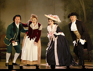 Andrew Jones as Figaro, Suzanne Shakespeare as Susanna, Kristen Leich as Marcellina and Steven Gallop as Bartolo in Opera Australia's 2017 Regional Tour production of The Marriage of Figaro. Photo by Jeff Busby
