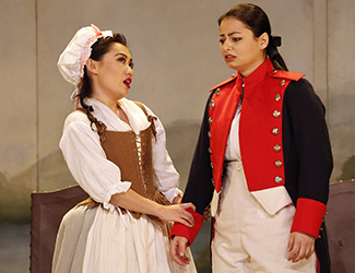 Jenny Liu as Barbarina, Agnes Sarkis as Cherubino in Opera Australia's 2017 Regional Tour production of The Marriage of Figaro. Photo by Jeff Busby