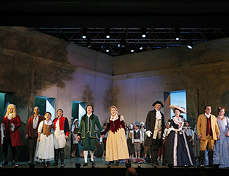 James Egglestone as Don Basilio, Adrian Tamburini as Antonio, Jenny Liu as Barbarina, Agnes Sarkis as Cherubino, Andrew Jones as Figaro, Suzanne Shakespeare as Susanna, Steven Gallop as Bartolo, Kristen Leich as Marcellina, Christopher Hillier as Count Almaviva, Olivia Cranwell as Countess Almaviva and the Geelong Youth Choir in Opera Australia's 2017 Regional Tour production of The Marriage of Figaro. Photo by Jeff Busby