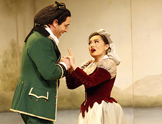 Adrian Tamburini as Figaro and Jenny Liu as Susanna in Opera Australia's 2017 Regional Tour production of The Marriage of Figaro.