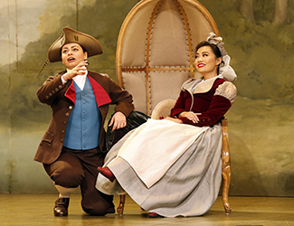 Agnes Sarkis as Cherubino and Jenny Liu as Susanna in Opera Australia's 2017 Regional Tour production of The Marriage of Figaro.