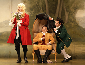 James Egglestone as Don Basilio, Simon Meadows as Count Almaviva and Adrian Tamburini as Figaro in Opera Australia's 2017 Regional Tour production of The Marriage of Figaro.