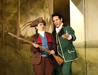 Agnes Sarkis as Cherubino and Adrian Tamburini as Figaro in Opera Australia's 2017 Regional Tour production of The Marriage of Figaro.