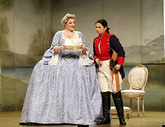 Lee Abrahmsen as Countess Almaviva and Agnes Sarkis as Cherubino in Opera Australia's 2017 Regional Tour production of The Marriage of Figaro.