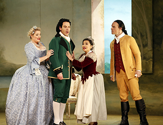 Lee Abrahmsen as Countess Almaviva, Adrian Tamburini as Figaro, Jenny Liu as Susanna and Simon Meadows as Count Almaviva in Opera Australia's 2017 Regional Tour production of The Marriage of Figaro.