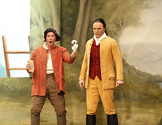 Andrew Jones as Antonio and Simon Meadows as Count Almaviva in Opera Australia's 2017 Regional Tour production of The Marriage of Figaro.