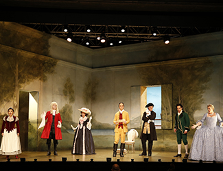 Jenny Liu as Susanna, James Egglestone as Don Basilio, Kristen Leich as Marcellina, Simon Meadows as Count Almaviva, Adrian Tamburini as Figaro, Steven Gallop as Bartolo and Lee Abrahmsen as Countess Almaviva in Opera Australia's 2017 Regional Tour production of The Marriage of Figaro.