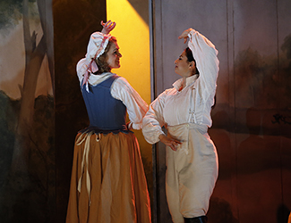Suzanne Shakespeare as Barbarina and Agnes Sarkis as Cherubino in Opera Australia's 2017 Regional Tour production of The Marriage of Figaro.