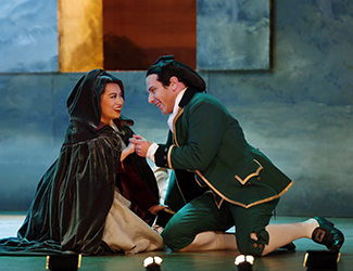 Jenny Liu as Susanna and Adrian Tamburini as Figaro in Opera Australia's 2017 Regional Tour production of The Marriage of Figaro.