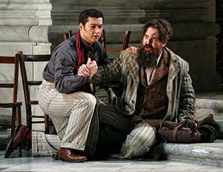 Teodor Ilincăi as Cavaradossi and Richard Anderson as Angelotti in Opera Australia's production of Tosca. Photo by Prudence Upton