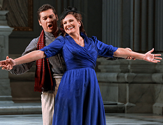 Teodor Ilincăi as Cavaradossi and Ainhoa Arteta as Tosca in Opera Australia's production of Tosca. Photo by Prudence Upton
