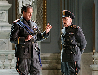 Lucio Gallo as Scarpia and Graeme Macfarlane as Spoletta in Opera Australia's production of Tosca. Photo by Prudence Upton