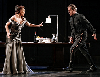Ainhoa Arteta as Tosca and Lucio Gallo as Scarpia in Opera Australia's production of Tosca. Photo by Prudence Upton