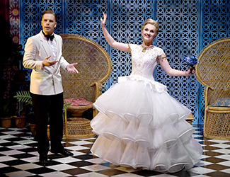 Nicholas Jones as Marasquin and Zoe Drummond as Giroflé / Girofla in Opera Australia's 2017 production of Two Weddings, One Bride