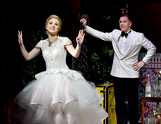 Zoe Drummond as Giroflé / Girofla and Nicholas Jones as Marasquin in Opera Australia's 2017 production of Two Weddings, One Bride.