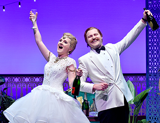 Michael Petruccelli as Pedro and Zoe Drummond as Giroflé / Girofla in Opera Australia's 2017 production of Two Weddings, One Bride.