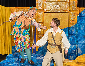 Raphael Wong as Papageno and Tomas Dalton as Tamino in Opera Australia's 2017 Schools Tour production of The Magic Flute. Photo by Albert Comper