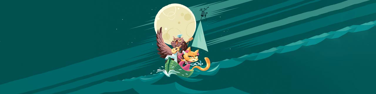 A cartoon drawing of a cat and an owl on a boat under the moon