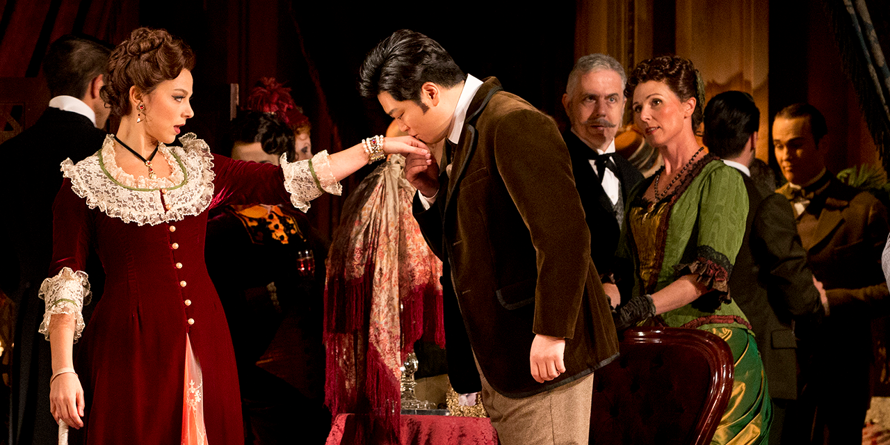Corinne Winters as Violetta and Yosep Kang as Alfredo Germont in La Traviata at Arts Centre Melbourne