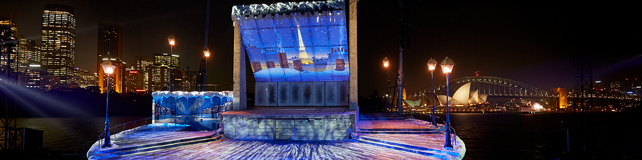 Snow falls on the Opera on Sydney Harbour set