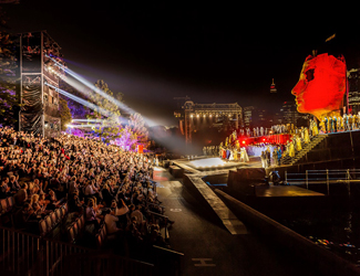 Side profile of venue at the Opera on Sydney Harbour's production of Aida