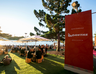 Family and friends at the Qantas Garden Bar at Handa Opera on Sydney Harbour.