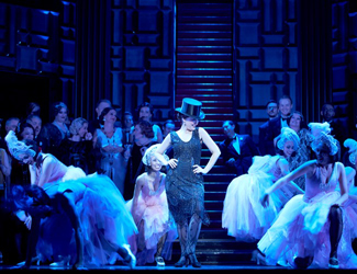Production image of the Merry widow with Hana at centre stage