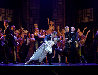 Production of image of the Merry widow with couple dancing as the main point of view