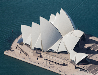 Bird eye view of the Sydney Opera House on a clear day.