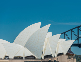 Sydney Opera House side profile with Sydney Habour Bridge in the background