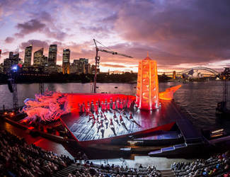 Production image of Turnadot at Opera on Sydney Harbour with Sydney skyline in the background