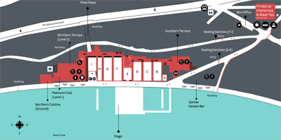 A map of the Handa Opera on Sydney Harbour site