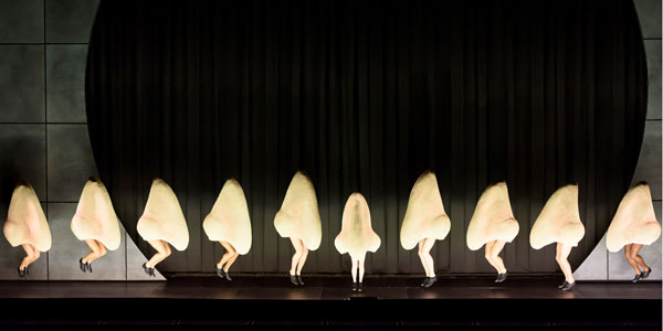 A line of tap dancing noses on a stage