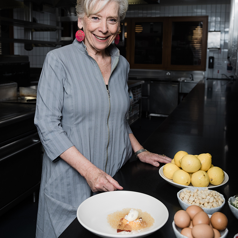Maggie Beer makes La Dolce Jessica in Matt Moran's kitchen at Aria Restaurant