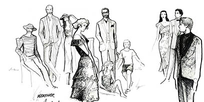 See the costume sketches for Werther