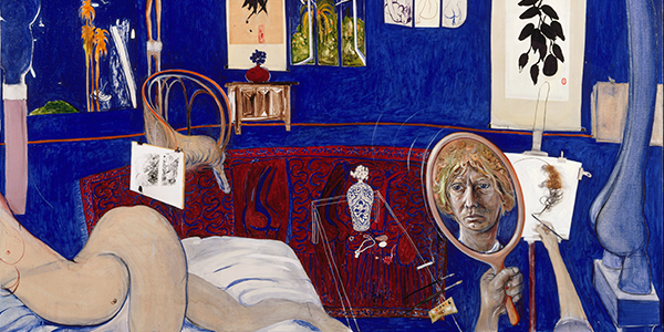 A painting of a room with a naked woman and Brett Whiteley's self-portrait in the mirror