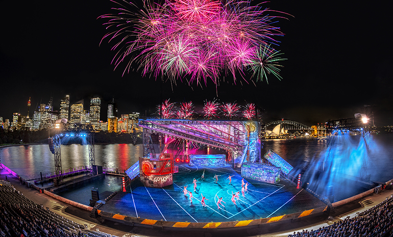 Fireworks during West Side Story on Sydney Harbour